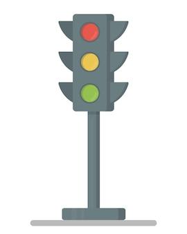 Feux de circulation avec les trois couleurs allumées. illustration vectorielle design plat. élément de feu de circulation