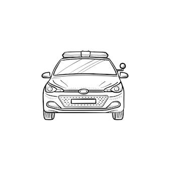 Feux de voiture de police et sirène icône de doodle contour dessiné à la main