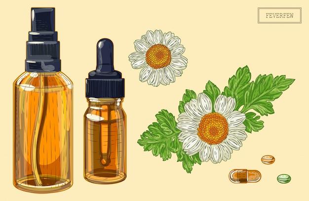 Feverfew fleurs et compte-gouttes et pulvérisateur