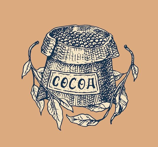 Fèves de cacao, céréales et sac. badge vintage ou logo pour t-shirts, typographie, boutique ou enseignes. croquis gravé dessiné à la main.