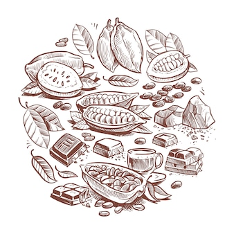 Fèves de cacao dessinées à la main, design chocolat. doodle cacao