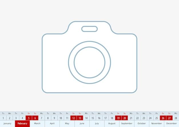 Février 2022 pour le calendrier de bureau. modèle vectoriel.