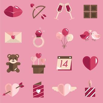 Février happy valentine icon set vector