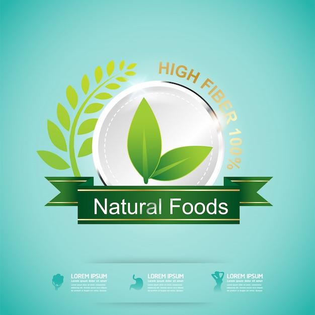 Fibre dans les aliments et étiquette de concept de vitamine