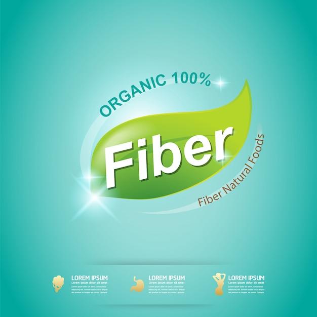 Fibre dans le label de concept de vecteur bio aliments verts