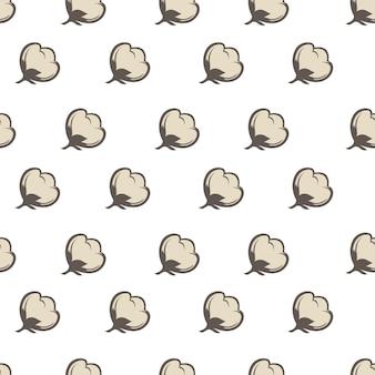 Fibre stable poussant en boule, fond de coton duveteux ou imprimé. produit sec et lisse utilisé pour la confection de textiles et de vêtements. ingrédient biologique de qualité. modèle sans couture, vecteur dans un style plat