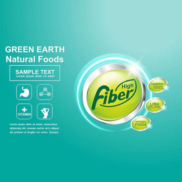 Fibre ou vitamine dans le logo de la nourriture