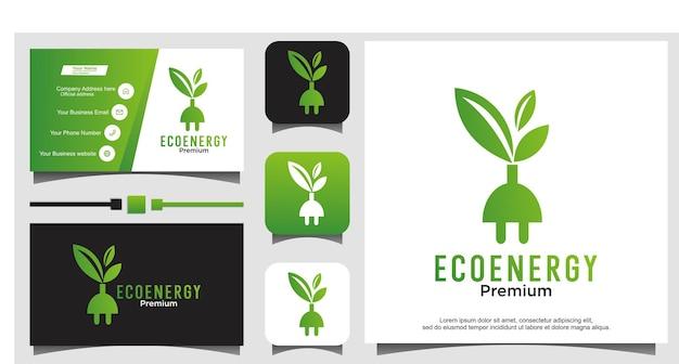Fiche d'énergie tech avec vecteur de conception de logo de feuille