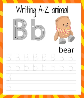 Fiche pratique d'écriture. ecriture de base. jeu éducatif pour les enfants. apprendre les lettres de l'alphabet anglais pour les enfants. écriture de la lettre b