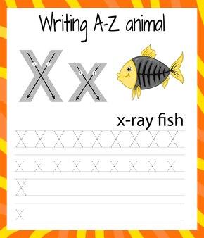 Fiche pratique de l'écriture manuscrite. écriture de base. jeu éducatif pour les enfants. apprendre les lettres de l'alphabet anglais pour les enfants. ecrire la lettre x