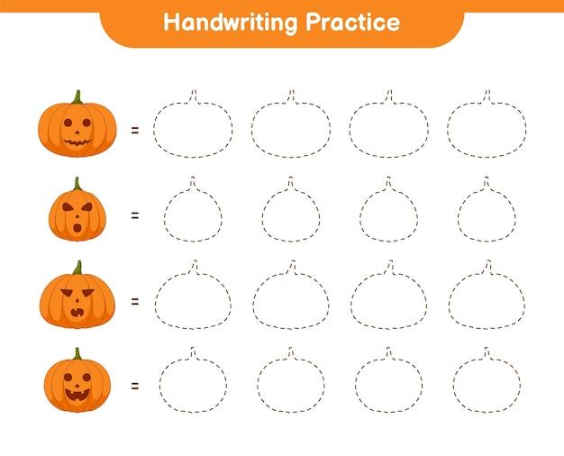 Fiche pratique de l'écriture manuscrite, jeu éducatif pour enfants, feuille de travail imprimable, illustration