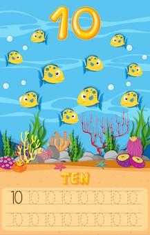 Fiche de travail dix poissons sous l'eau