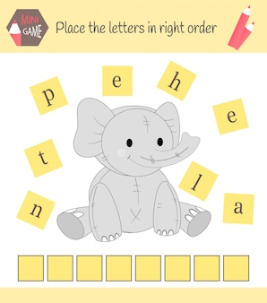 Fiche de travail pour enfants d'âge préscolaire jeu de mots éducatifs pour enfants. placez les lettres dans le bon ordre