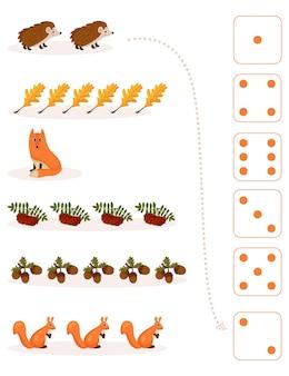Fiche de travail pour l'enseignement des mathématiques et de la numératie sur le thème de l'automne. pour les enfants d'âge préscolaire et les enfants de la maternelle qui étudient les nombres et le comptage.