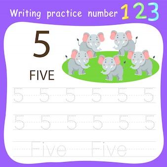 Fiche de travail pratique d'écriture numéro cinq