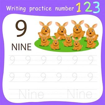 Fiche de travail pratique d'écriture numéro neuf