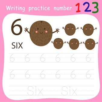 Fiche de travail pratique d'écriture numéro six