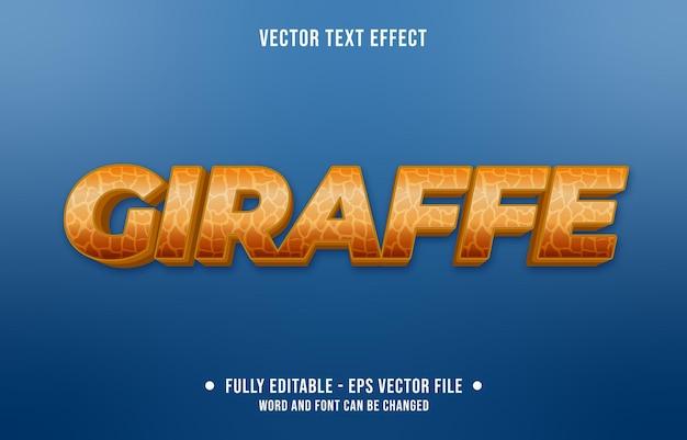 Fichier 1modèle de peau de girafe animale de style dégradé à effet de texte modifiable et couleur marron