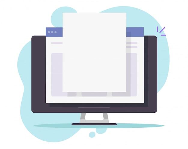 Fichier de document en ligne sur ordinateur pc avec page de feuille de papier espace copie vierge vide