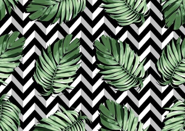 Fichier d'illustration de modèle sans couture abstraite de mode textile de feuilles naturelles dessinés à la main