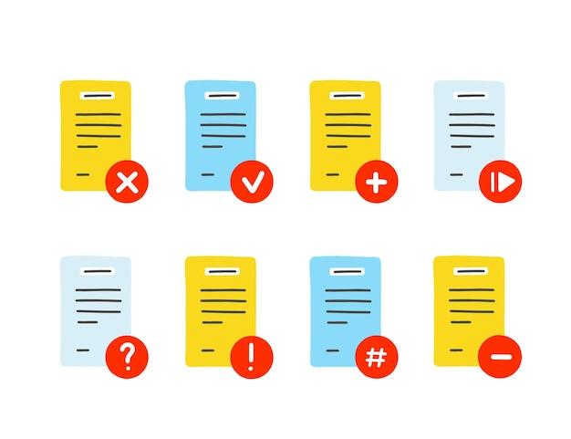Fichier, jeu d'icônes de document. illustration vectorielle dessinés à la main.