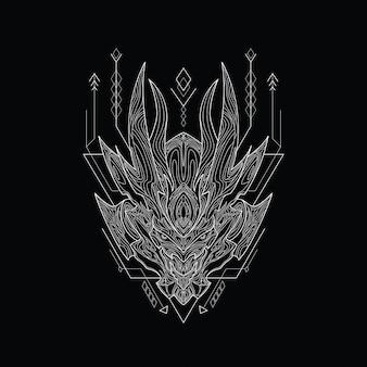 Fichier line art hell avec style de géométrie sacrée