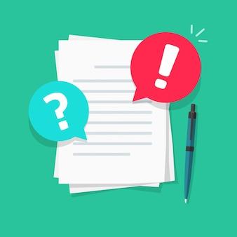 Fichier texte ou document commentaires et remarques illustration dessin animé