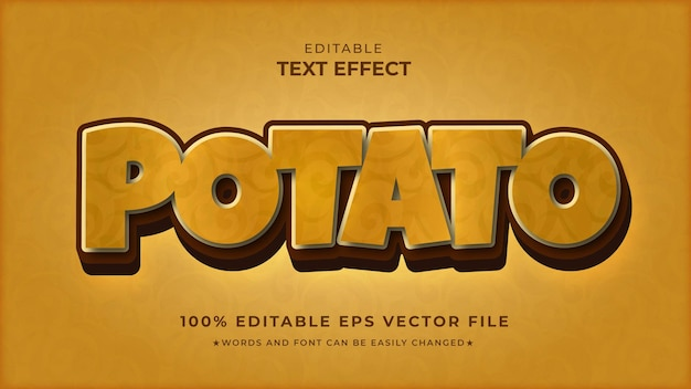 Fichier vectoriel éditable d'effet de texte de pomme de terre