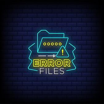Fichiers d'erreur texte de style d'enseignes au néon