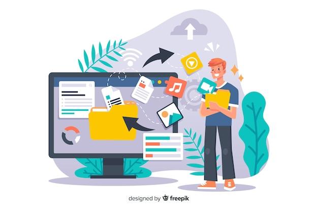 Fichiers de transfert de concept de page de destination