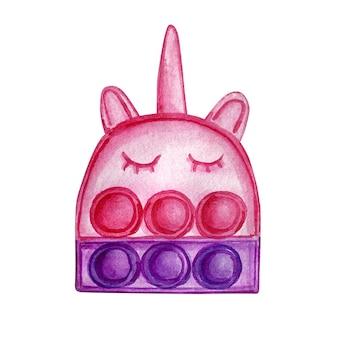 Fidget licorne sur fond blanc. pop aquarelle. jouet anti-stress aux couleurs roses. éclaboussure colorée.