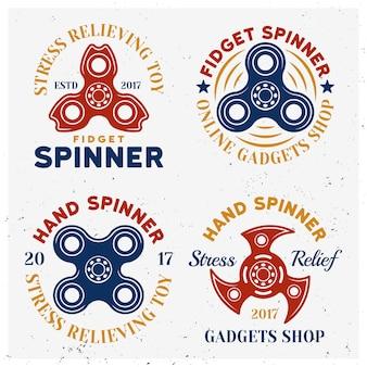 Fidget spinners emblèmes colorés, étiquettes, badges ou logos isolés sur fond blanc