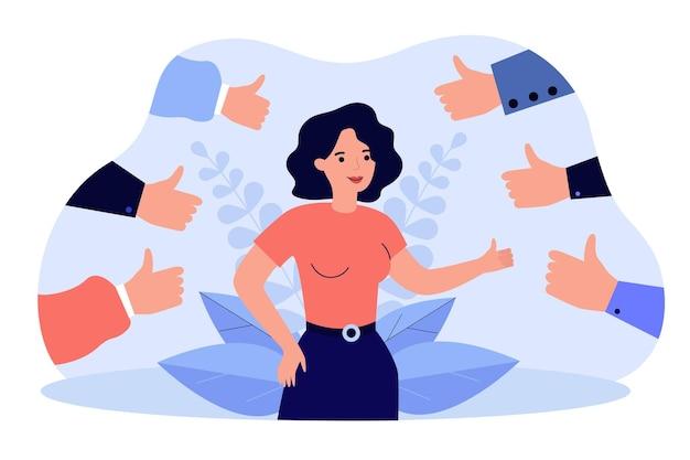 Fière femme positive entourée de mains avec les pouces vers le haut
