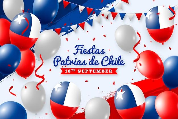 Fiestas patrias de chile avec des ballons et des drapeaux