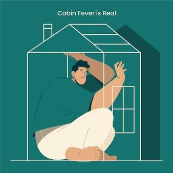 Fièvre de cabine avec l'homme à l'intérieur de la maison