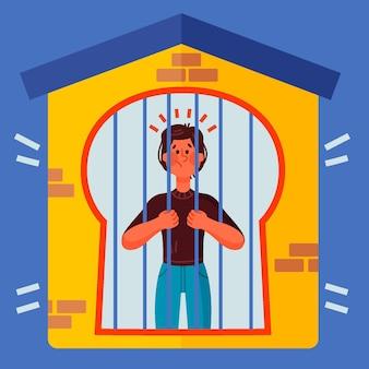 Fièvre dans la cabine avec une personne derrière les barreaux