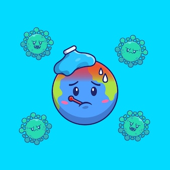 Fièvre mondiale de corona virus icon illustration. personnage de dessin animé de mascotte corona. concept d'icône mondiale isolé