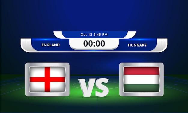 Fifa world cup 2022 angleterre vs hongrie match de football diffusion du tableau de bord