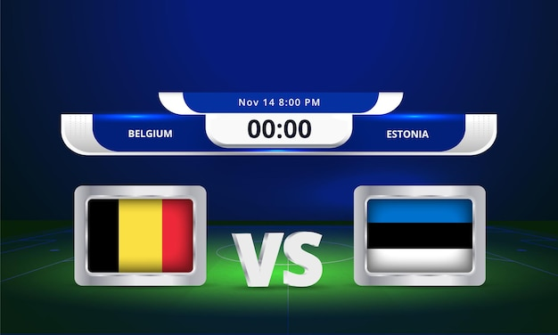 Fifa world cup 2022 belgique vs estonie match de football diffusion tableau de bord