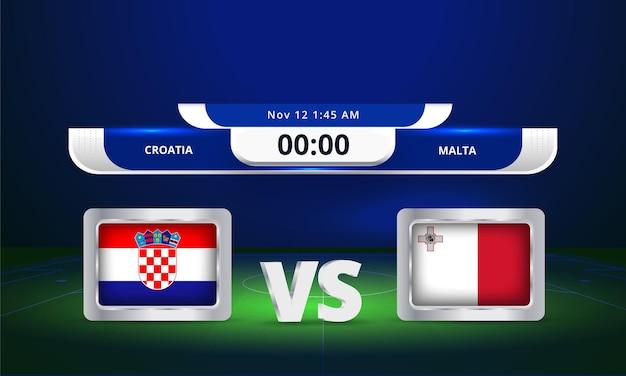 Fifa world cup 2022 croatie vs malte match de football diffusion du tableau de bord