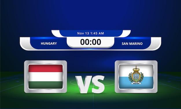 Fifa world cup 2022 hongrie vs saint-marin match de football diffusion du tableau de bord