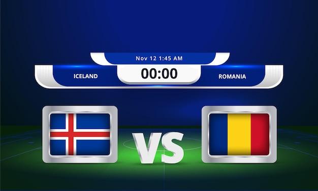 Fifa world cup 2022 islande vs roumanie match de football diffusion du tableau de bord