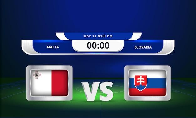 Fifa world cup 2022 malte vs solvakia match de football diffusion du tableau de bord