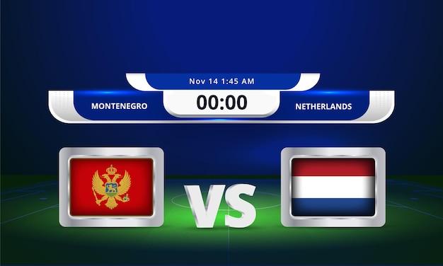 Fifa world cup 2022 monténégro vs pays-bas match de football diffusion du tableau de bord