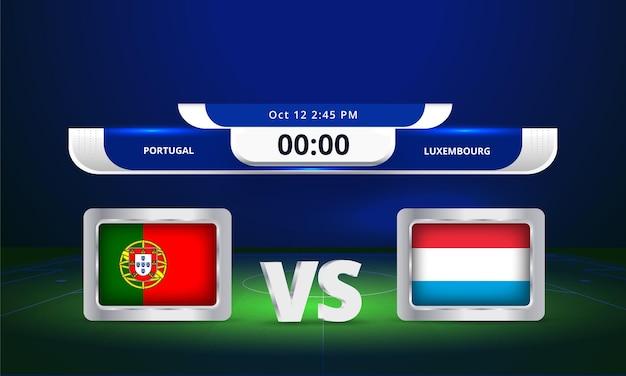 Fifa world cup 2022 portugal vs luxembourg match de football diffusion du tableau de bord