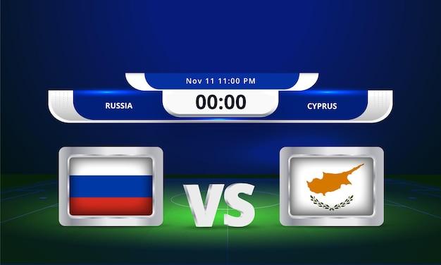 Fifa world cup 2022 russie vs chypre match de football diffusion du tableau de bord