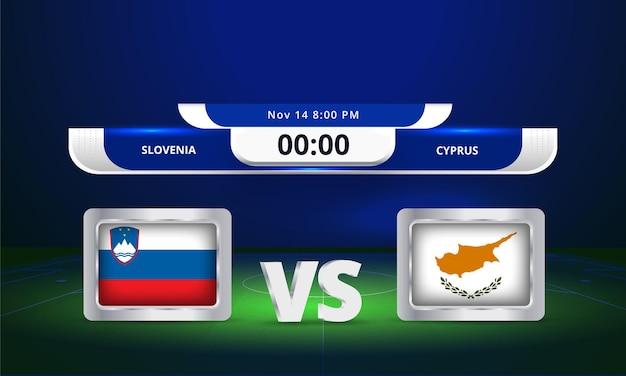 Fifa world cup 2022 solvenia vs chypre match de football diffusion du tableau de bord