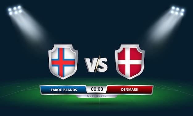 Fifa world cup qualifier 2022 îles féroé vs danemark match de football