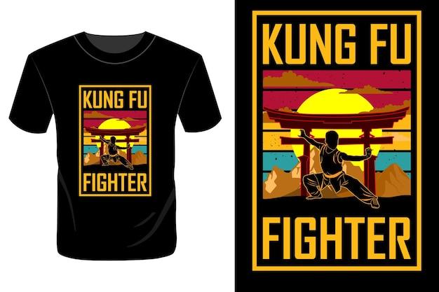 Fighter t shirt design vintage rétro