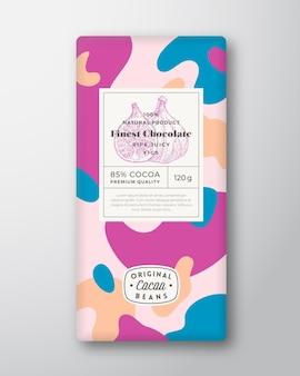Figues chocolat étiquette formes abstraites vecteur mise en page de conception d'emballage